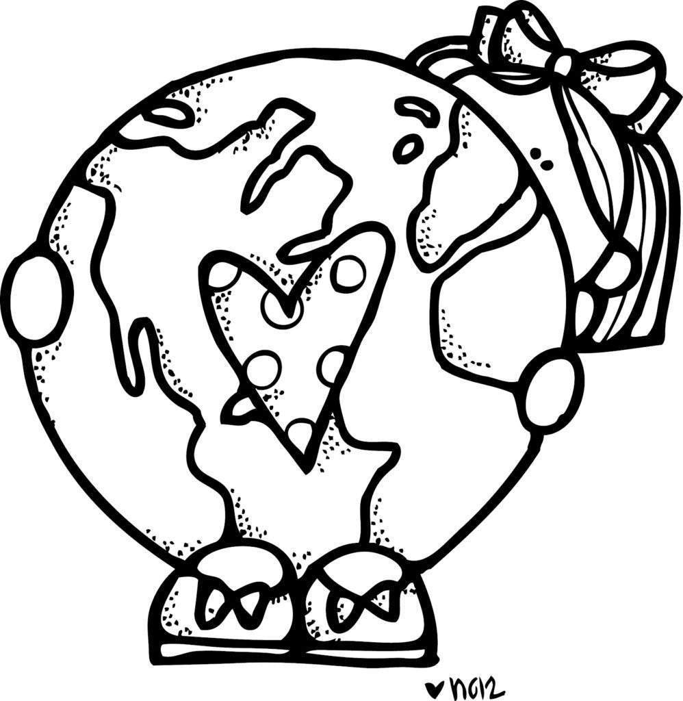 Earth Day Clip art black and White