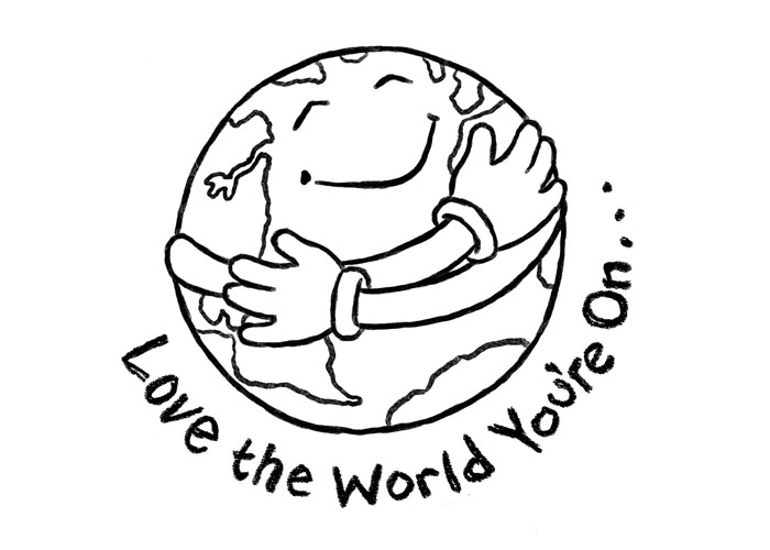 Earth Day Black and White Clipart